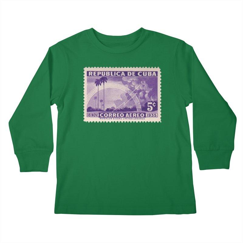 Cuba Vintage Stamp Art 1935 Kids Longsleeve T-Shirt by The Cuba Travel Store Artist Shop