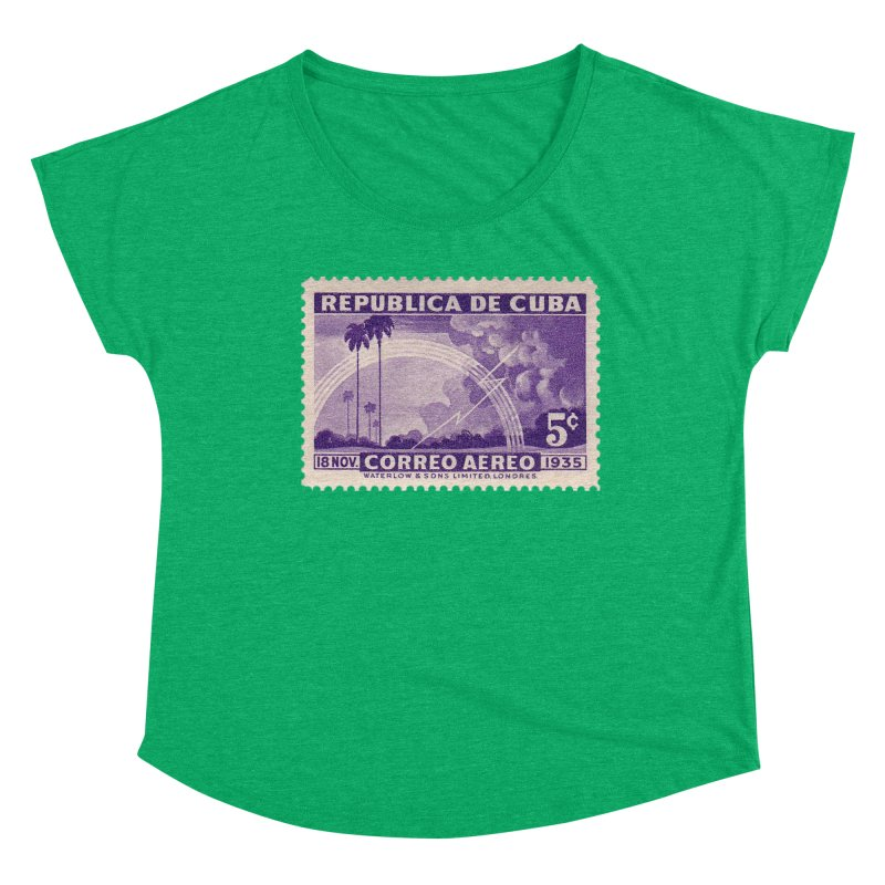 Cuba Vintage Stamp Art 1935 Women's Scoop Neck by The Cuba Travel Store Artist Shop
