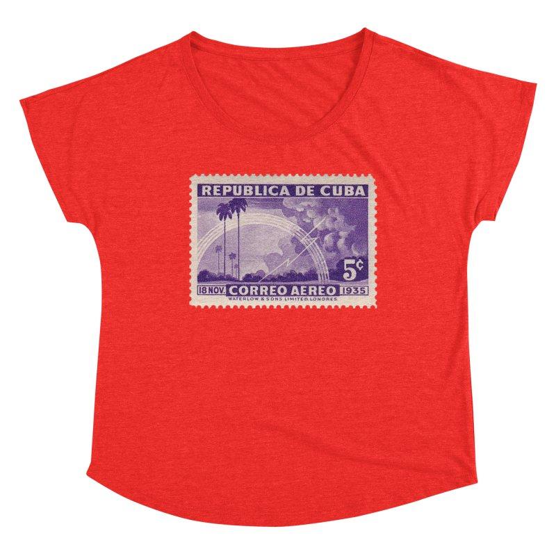 Cuba Vintage Stamp Art 1935 Women's Scoop Neck by The Cuba Travel Store Artist Shop