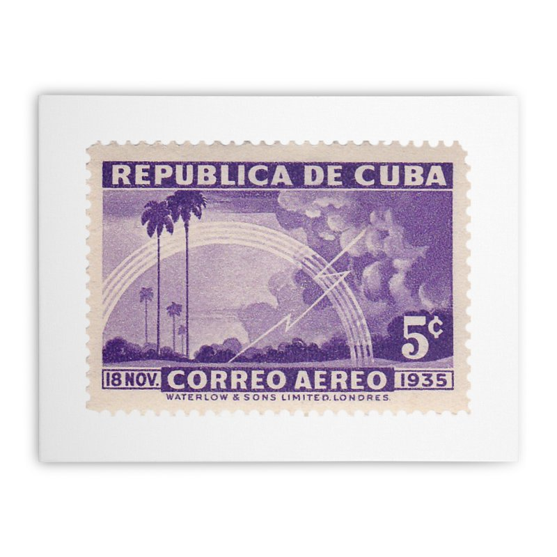 Cuba Vintage Stamp Art 1935 Home Stretched Canvas by The Cuba Travel Store Artist Shop