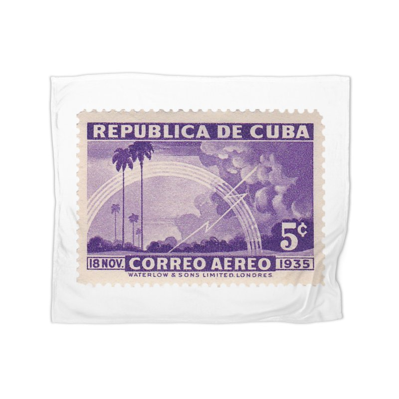 Cuba Vintage Stamp Art 1935 Home Fleece Blanket Blanket by The Cuba Travel Store Artist Shop