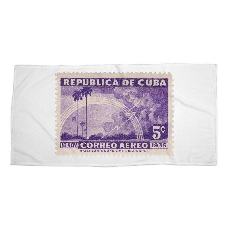 Cuba Vintage Stamp Art 1935 Accessories Beach Towel by The Cuba Travel Store Artist Shop