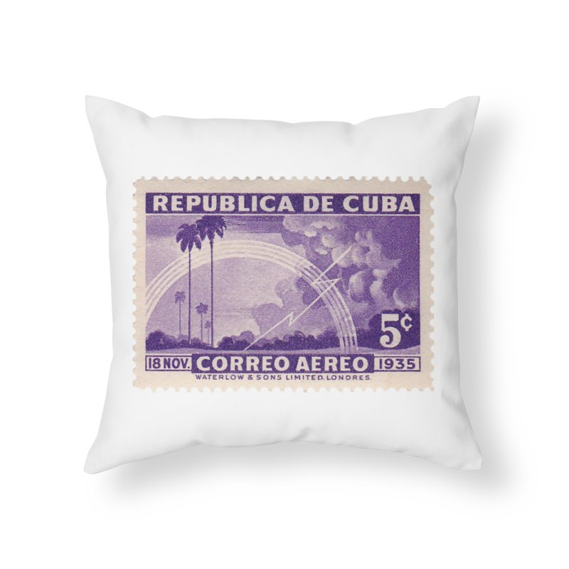 Cuba Vintage Stamp Art 1935 Home Throw Pillow by The Cuba Travel Store Artist Shop