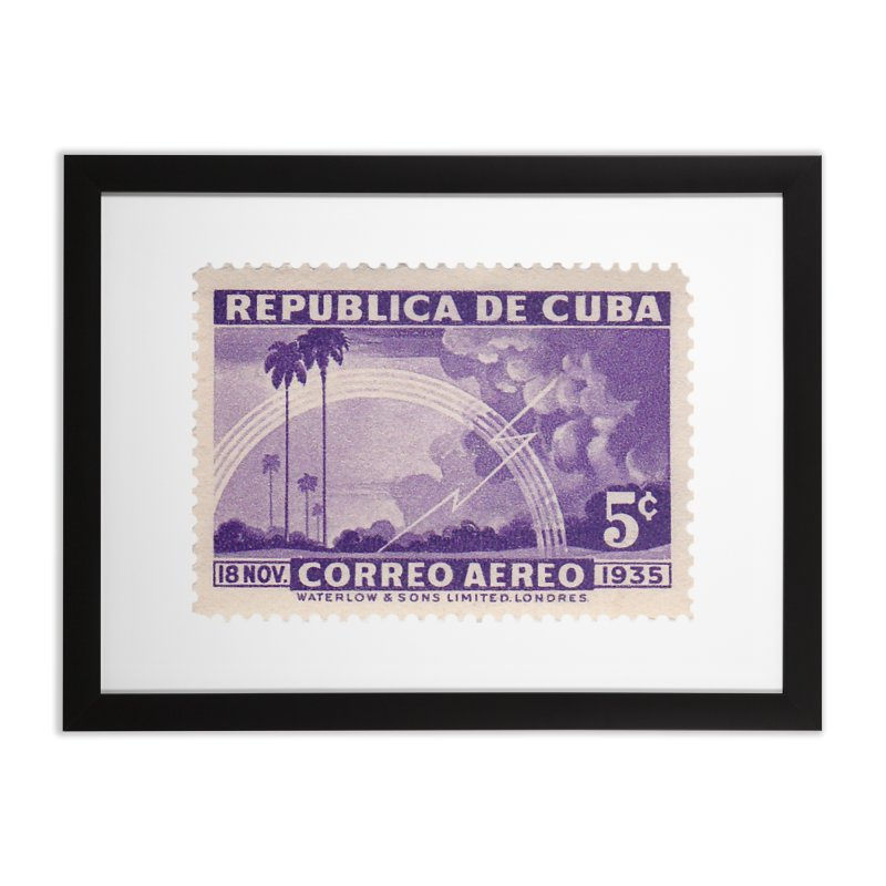 Cuba Vintage Stamp Art 1935 Home Framed Fine Art Print by The Cuba Travel Store Artist Shop