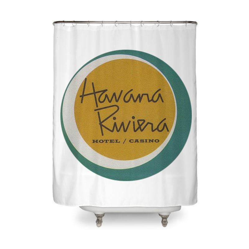 Havana Riviera Hotel 1950s Logo Home Shower Curtain by The Cuba Travel Store Artist Shop