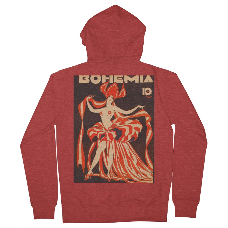 Cuba Bohemia Vintage Magazine Cover 1929 Men's French Terry Zip-Up Hoody by The Cuba Travel Store Artist Shop
