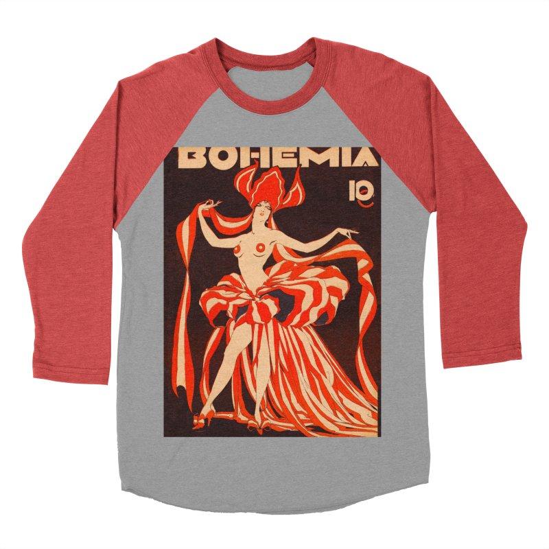 Cuba Bohemia Vintage Magazine Cover 1929 Men's Baseball Triblend Longsleeve T-Shirt by The Cuba Travel Store Artist Shop