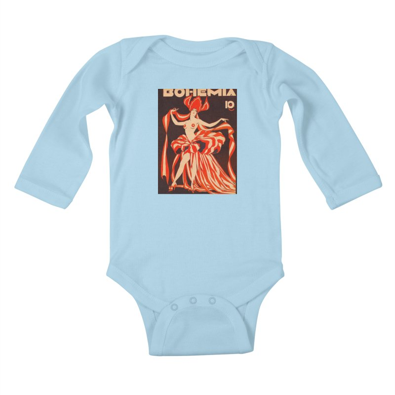 Cuba Bohemia Vintage Magazine Cover 1929 Kids Baby Longsleeve Bodysuit by The Cuba Travel Store Artist Shop
