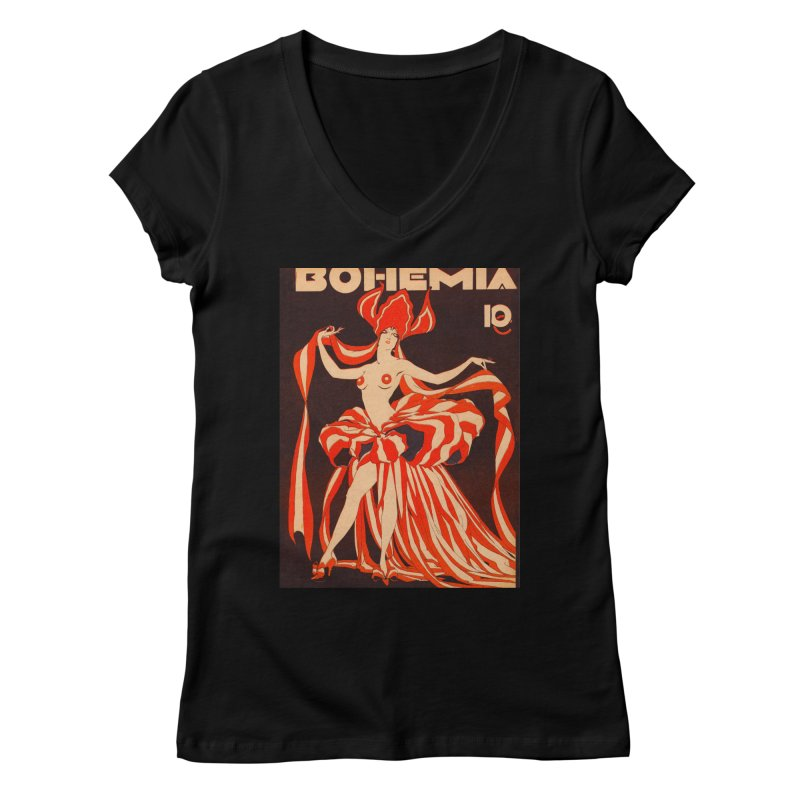 Cuba Bohemia Vintage Magazine Cover 1929 Women's V-Neck by The Cuba Travel Store Artist Shop