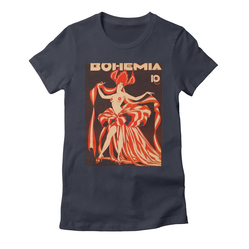 Cuba Bohemia Vintage Magazine Cover 1929 Women's Fitted T-Shirt by The Cuba Travel Store Artist Shop
