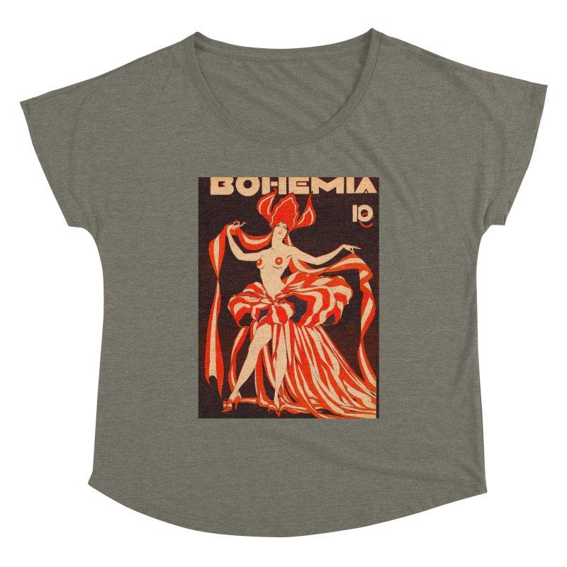 Cuba Bohemia Vintage Magazine Cover 1929 Women's Scoop Neck by The Cuba Travel Store Artist Shop
