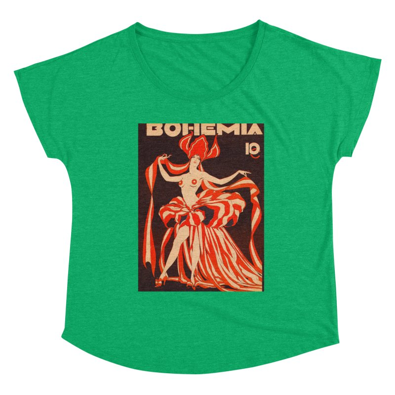 Cuba Bohemia Vintage Magazine Cover 1929 Women's Scoop Neck by The Cuba Travel Store Artist Shop