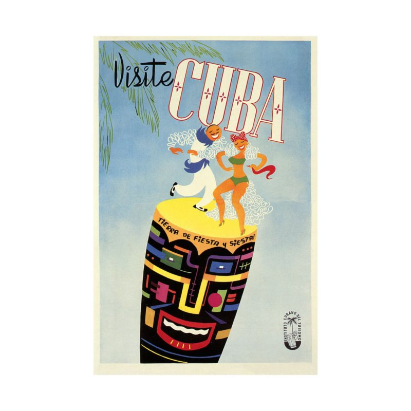 Cuba Vintage Travel Poster 1950s Women's Longsleeve T-Shirt by The Cuba Travel Store Artist Shop
