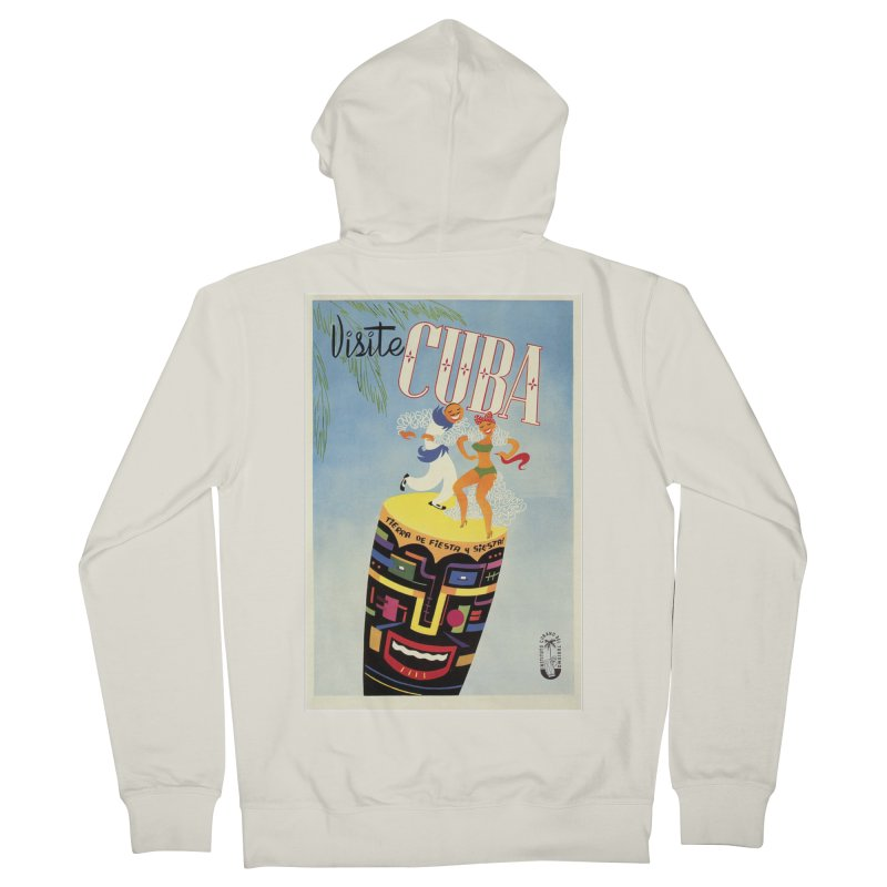 Cuba Vintage Travel Poster 1950s Men's French Terry Zip-Up Hoody by The Cuba Travel Store Artist Shop