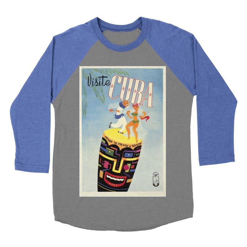 Cuba Vintage Travel Poster 1950s Men's Baseball Triblend Longsleeve T-Shirt by The Cuba Travel Store Artist Shop