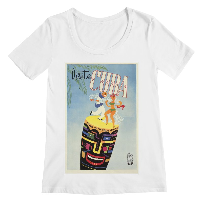 Cuba Vintage Travel Poster 1950s Women's Regular Scoop Neck by The Cuba Travel Store Artist Shop