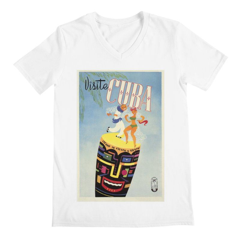 Cuba Vintage Travel Poster 1950s Men's V-Neck by The Cuba Travel Store Artist Shop