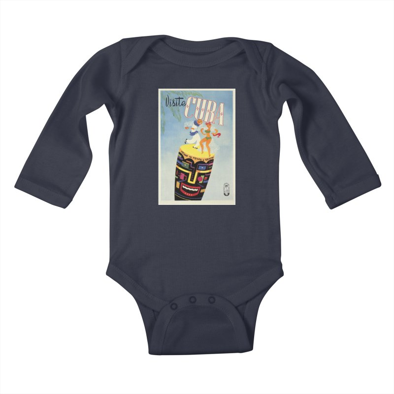 Cuba Vintage Travel Poster 1950s Kids Baby Longsleeve Bodysuit by The Cuba Travel Store Artist Shop