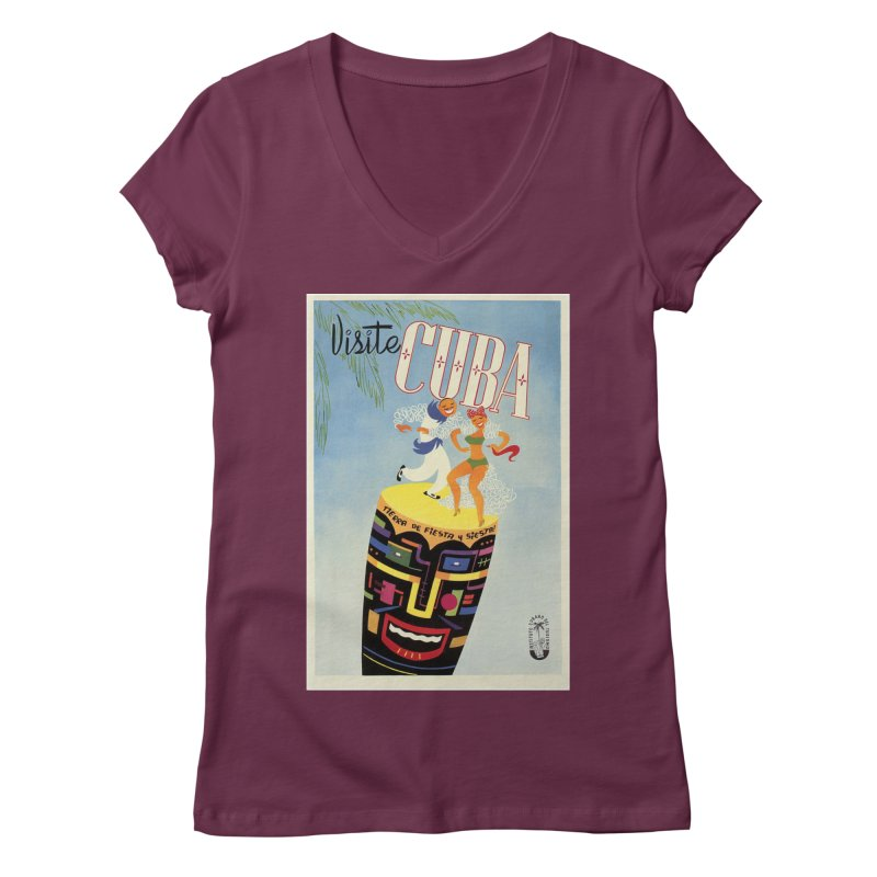 Cuba Vintage Travel Poster 1950s Women's Regular V-Neck by The Cuba Travel Store Artist Shop