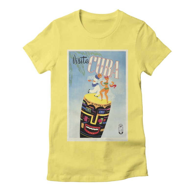 Cuba Vintage Travel Poster 1950s Women's Fitted T-Shirt by The Cuba Travel Store Artist Shop