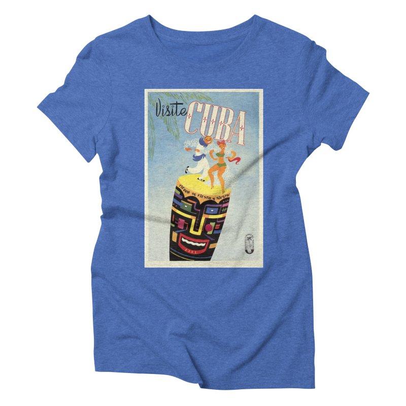 Cuba Vintage Travel Poster 1950s Women's Triblend T-Shirt by The Cuba Travel Store Artist Shop