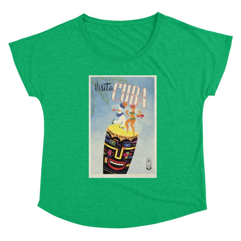 Cuba Vintage Travel Poster 1950s Women's Scoop Neck by The Cuba Travel Store Artist Shop
