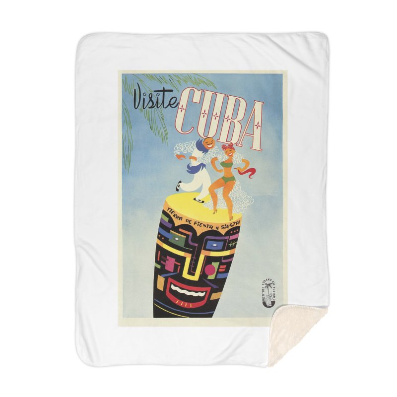 Cuba Vintage Travel Poster 1950s Home Blanket by The Cuba Travel Store Artist Shop