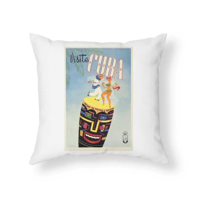Cuba Vintage Travel Poster 1950s Home Throw Pillow by The Cuba Travel Store Artist Shop
