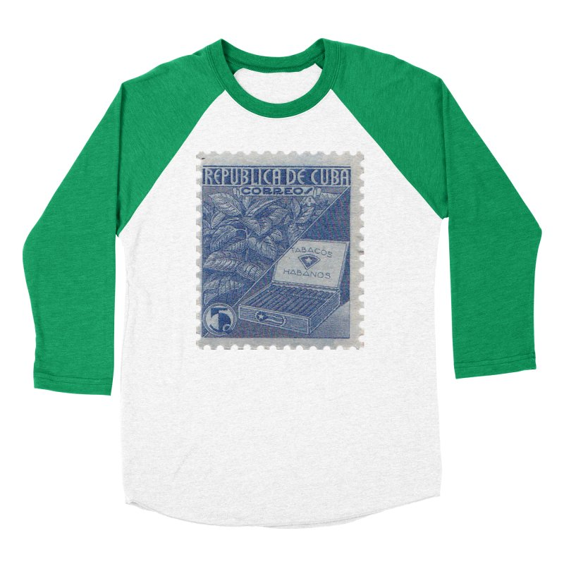 Cuba Vintage Stamp Art  Women's Longsleeve T-Shirt by The Cuba Travel Store Artist Shop