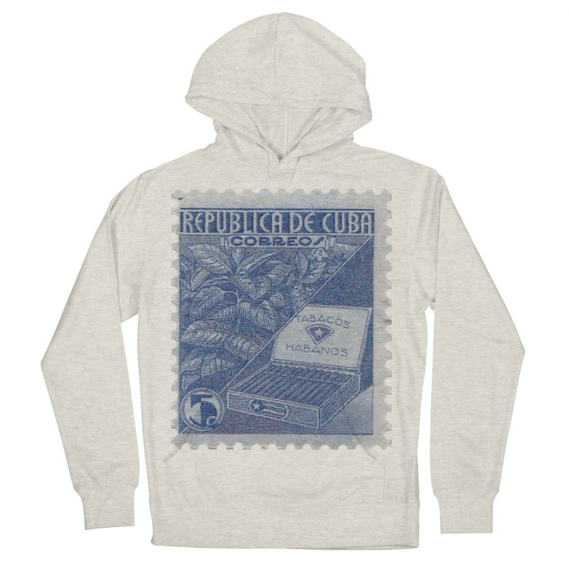 Cuba Vintage Stamp Art  Men's French Terry Pullover Hoody by The Cuba Travel Store Artist Shop