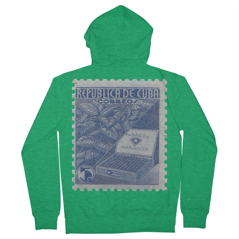 Cuba Vintage Stamp Art  Women's Zip-Up Hoody by The Cuba Travel Store Artist Shop