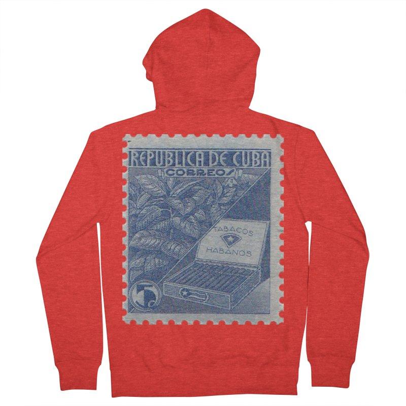 Cuba Vintage Stamp Art  Women's Zip-Up Hoody by The Cuba Travel Store Artist Shop