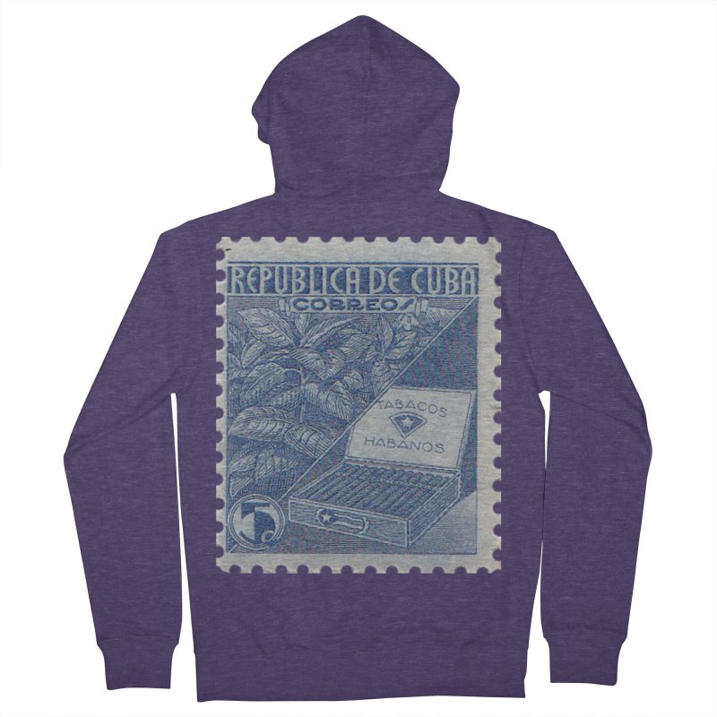 Cuba Vintage Stamp Art  Men's French Terry Zip-Up Hoody by The Cuba Travel Store Artist Shop
