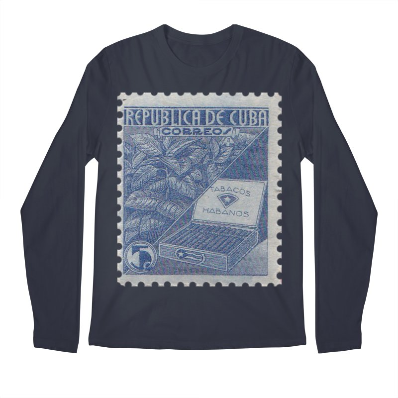 Cuba Vintage Stamp Art  Men's Regular Longsleeve T-Shirt by The Cuba Travel Store Artist Shop