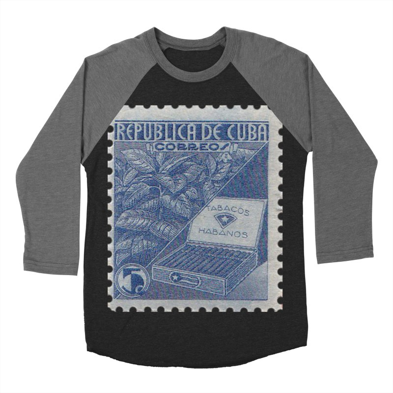 Cuba Vintage Stamp Art  Men's Baseball Triblend Longsleeve T-Shirt by The Cuba Travel Store Artist Shop