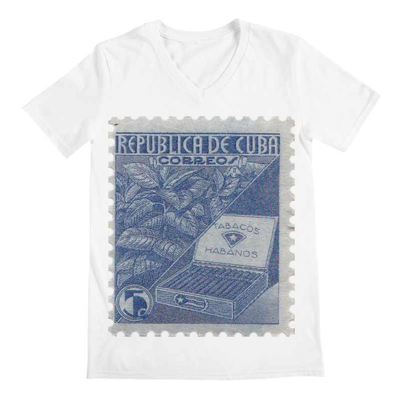 Cuba Vintage Stamp Art  Men's V-Neck by The Cuba Travel Store Artist Shop