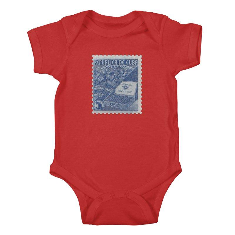Cuba Vintage Stamp Art  Kids Baby Bodysuit by The Cuba Travel Store Artist Shop