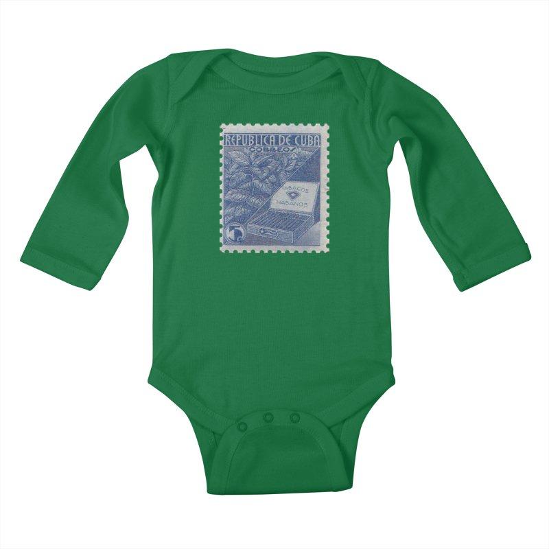 Cuba Vintage Stamp Art  Kids Baby Longsleeve Bodysuit by The Cuba Travel Store Artist Shop
