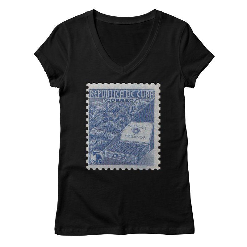 Cuba Vintage Stamp Art  Women's V-Neck by The Cuba Travel Store Artist Shop