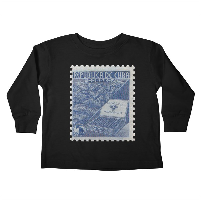 Cuba Vintage Stamp Art  Kids Toddler Longsleeve T-Shirt by The Cuba Travel Store Artist Shop