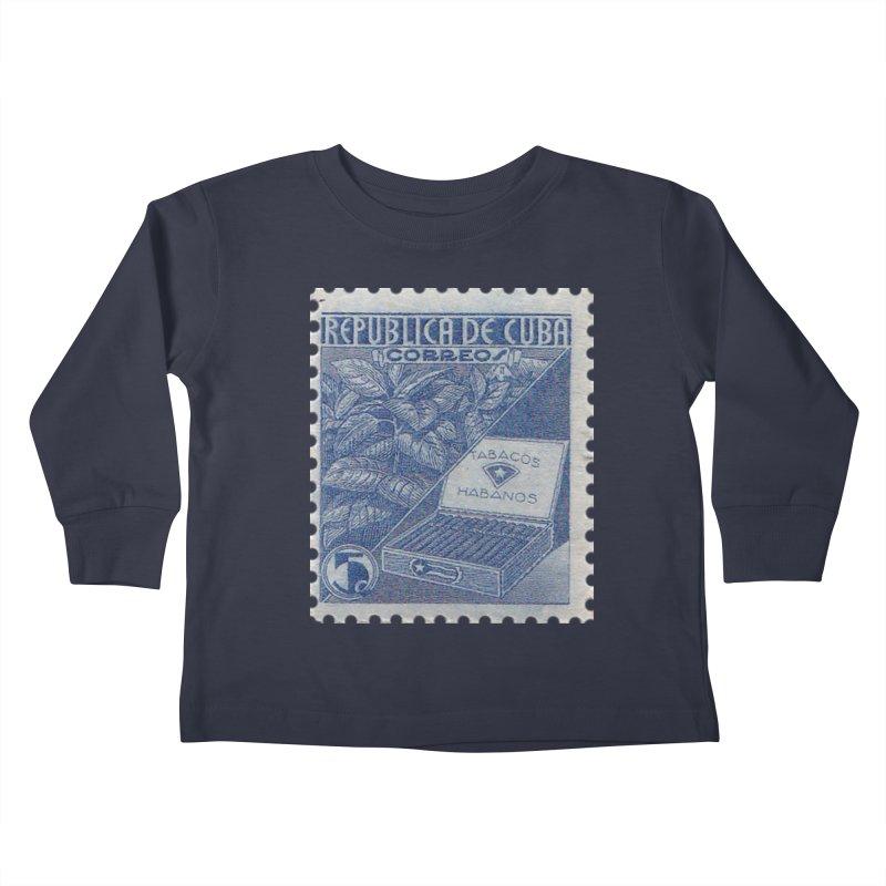 Cuba Vintage Stamp Art  Kids Toddler Longsleeve T-Shirt by The Cuba Travel Store Artist Shop