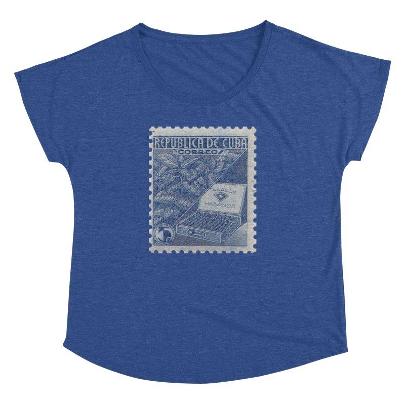 Cuba Vintage Stamp Art  Women's Dolman Scoop Neck by The Cuba Travel Store Artist Shop