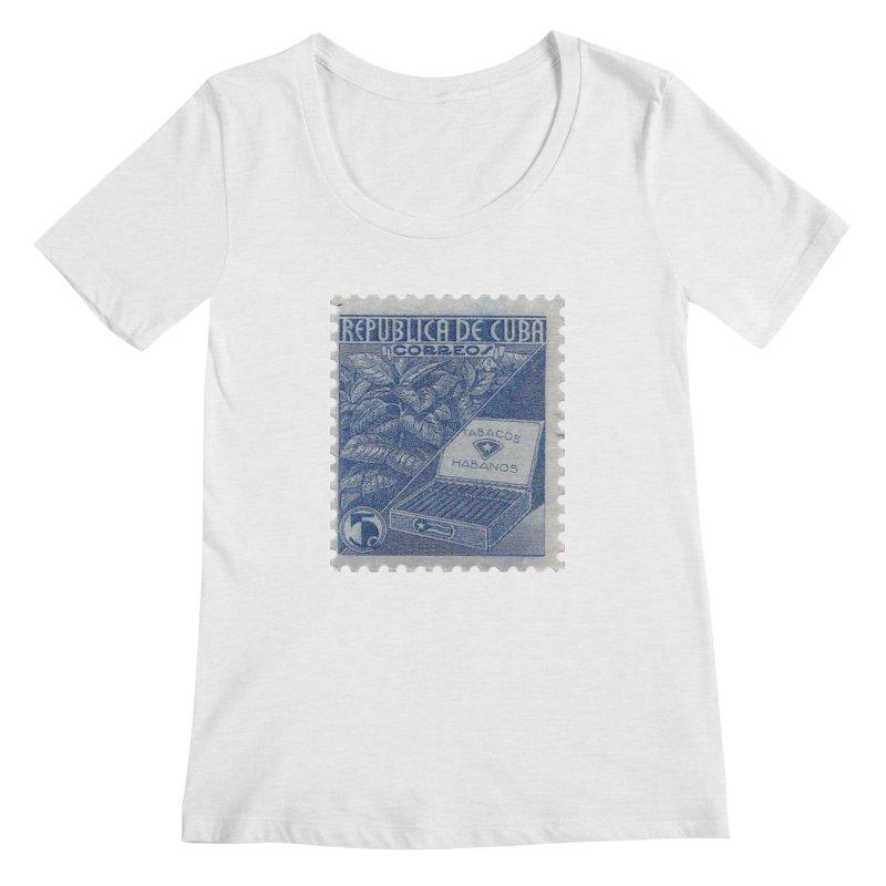 Cuba Vintage Stamp Art  Women's Regular Scoop Neck by The Cuba Travel Store Artist Shop