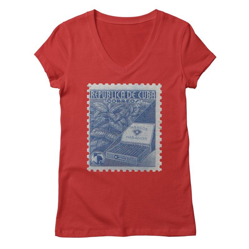 Cuba Vintage Stamp Art  Women's Regular V-Neck by The Cuba Travel Store Artist Shop