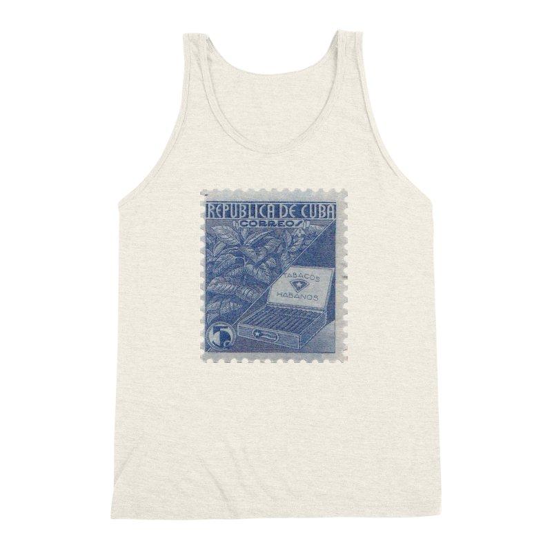 Cuba Vintage Stamp Art  Men's Triblend Tank by The Cuba Travel Store Artist Shop