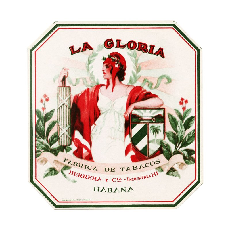 Cuba La Gloria Vintage Cigar Label 1930s Home Stretched Canvas by The Cuba Travel Store Artist Shop