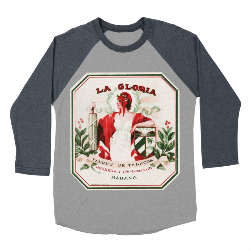 Cuba La Gloria Vintage Cigar Label 1930s Men's Baseball Triblend Longsleeve T-Shirt by The Cuba Travel Store Artist Shop