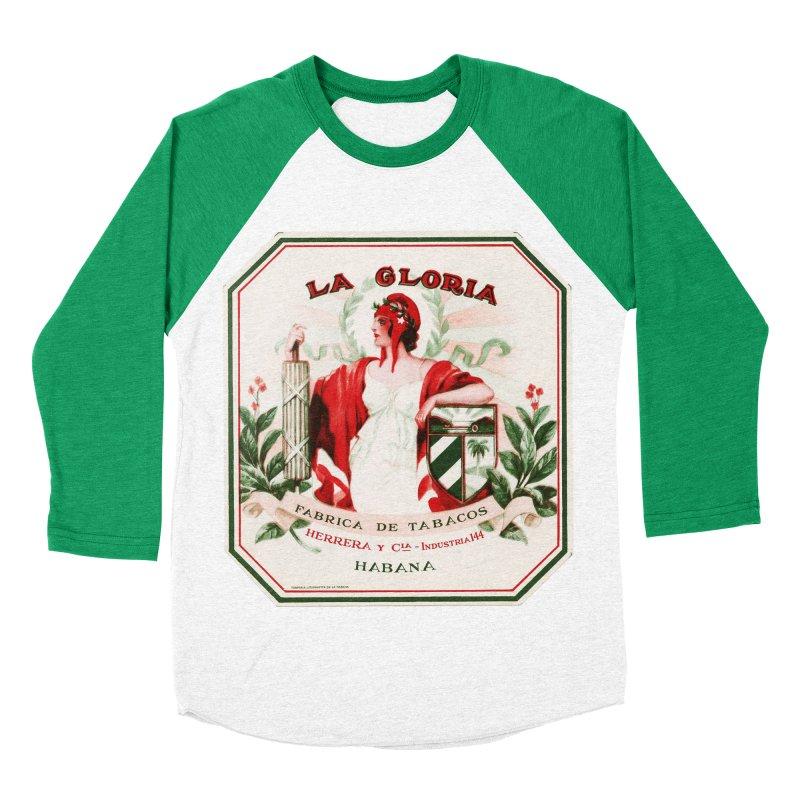Cuba La Gloria Vintage Cigar Label 1930s Men's Baseball Triblend Longsleeve T-Shirt by The Cuba Travel Store Artist Shop