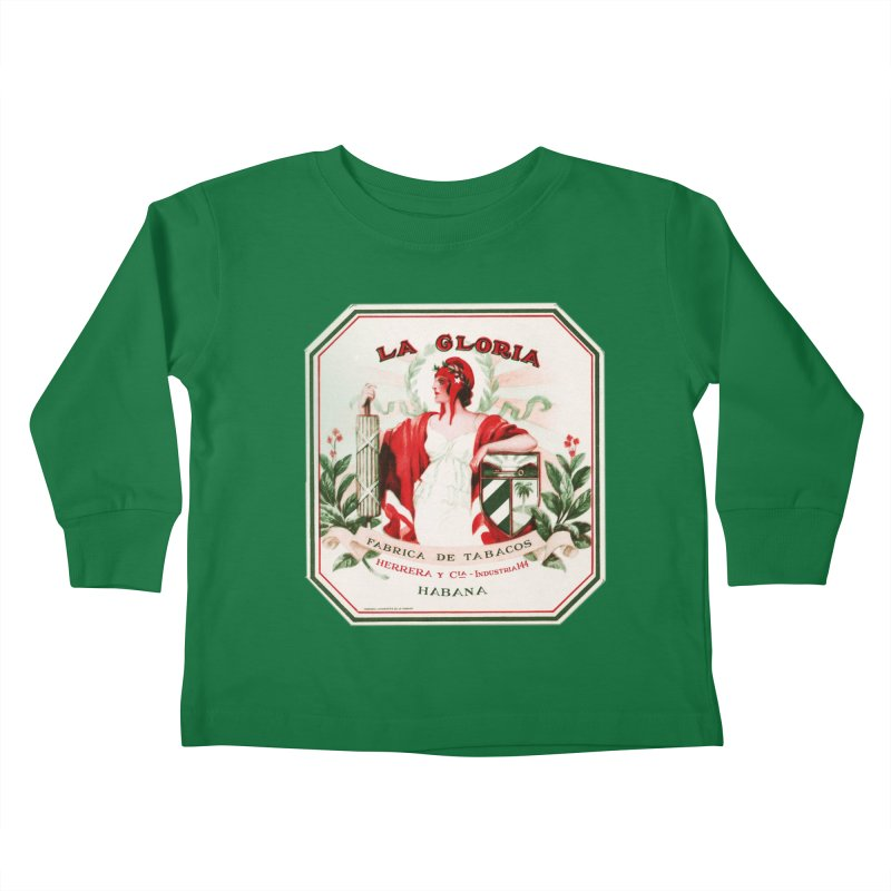 Cuba La Gloria Vintage Cigar Label 1930s Kids Toddler Longsleeve T-Shirt by The Cuba Travel Store Artist Shop