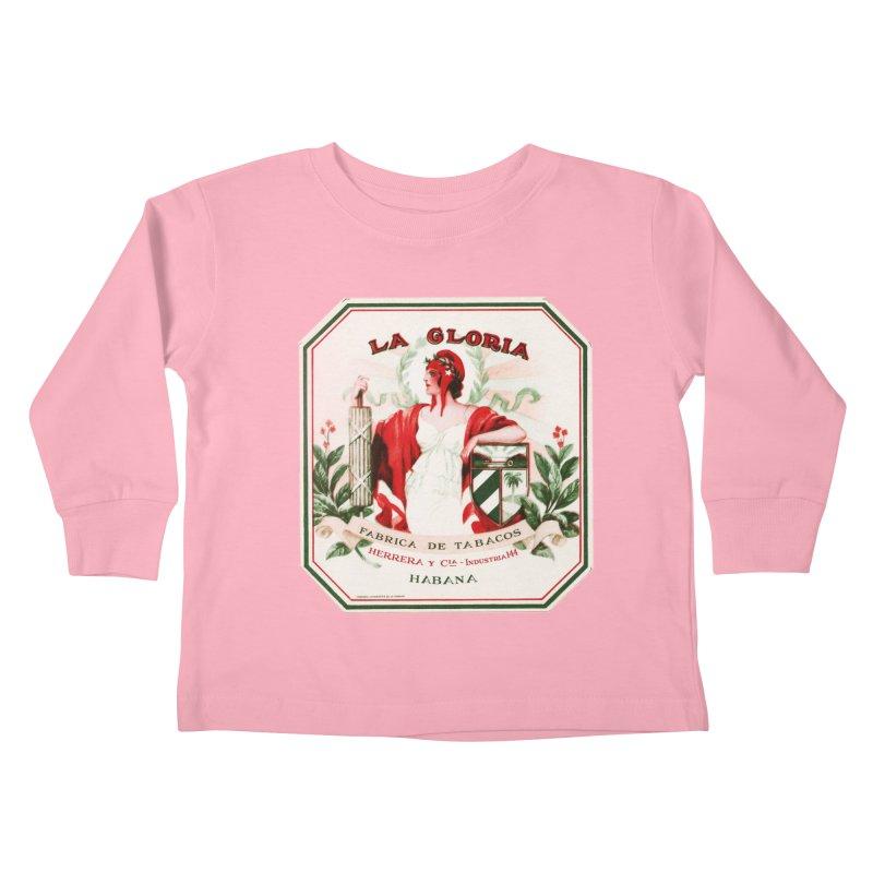 Cuba La Gloria Vintage Cigar Label 1930s Kids Toddler Longsleeve T-Shirt by The Cuba Travel Store Artist Shop